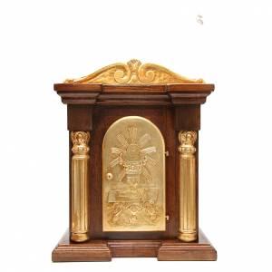 Tabernacle en bois avec chapiteau feuille or 70x45x30 s1
