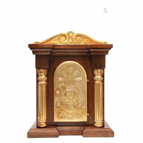 Tabernacle in carved wood with gold leaf capital 70x45x30cm s1