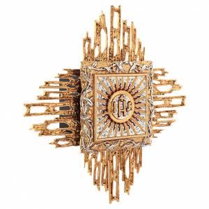 Tabernacolo da parete ottone fuso oro argento JHS s3