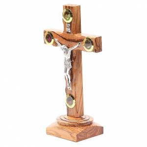 Table Crucifix olive wood Holy Land earth & seeds 19cm s2
