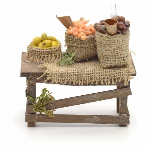 Table et sacs de jute, accessoire crèche Napolitaine s1