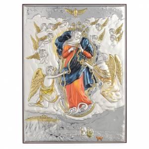 Bas reliefs en argent: Tableau Marie qui défait les noeuds argent 925 19x26cm