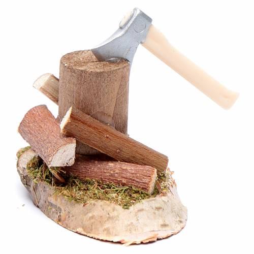 Taglialegna su tronco accessori presepe s2