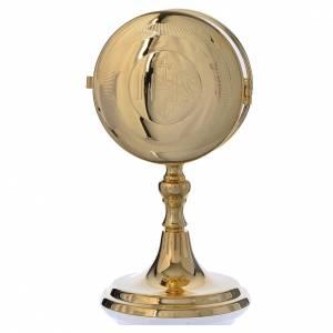 Teca porta ostie con lunetta ottone dorato diam 10 cm s1
