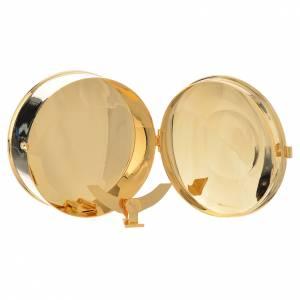 Teca portaostie ottone dorato IHS diam 9 cm con lunetta s3