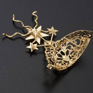 Tiara for statues in gold-plated filigree and color stones s7