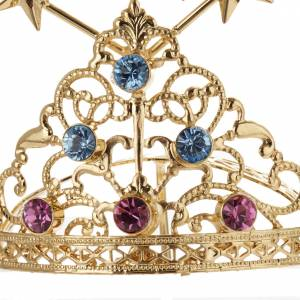 Tiara for statues in gold-plated filigree and color stones s8