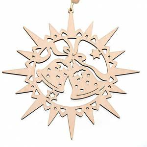 Décorations sapin bois et pvc: Étoile taillée, clochettes