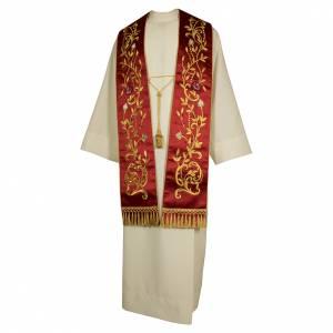 Étoles liturgiques: Étole brodée main avec décors couleur or plantes fleurs pure soie