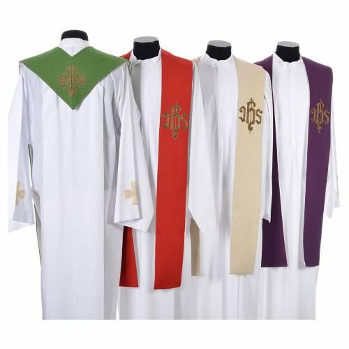 Étole liturgique croix IHS polyester coton lurex s2