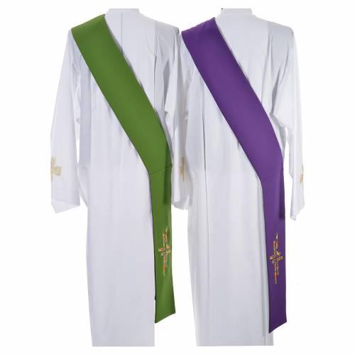 Étole liturgique double face vert violet croix colorées s3