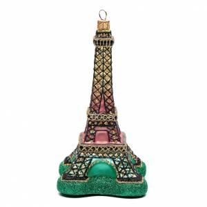 Adornos de vidrio soplado para Árbol de Navidad: Torre Eiffel adorno vidrio soplado Árbol de Navidad