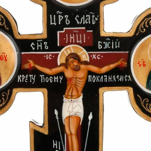 Trefoil cross Russian icon, black s3