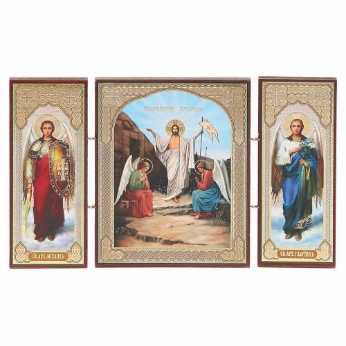 Triptych Russia wood Resurrection 21x12cm s1