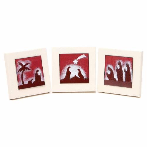 Triptyque cadres rouges argile Centre Ave 9,8 cm s1