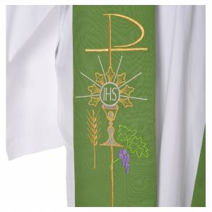 Tristole in polyester with chalice, host, grapes and Chi-rho sym s7