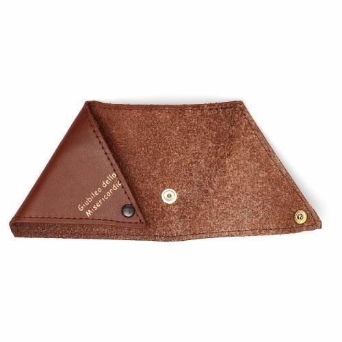 Étui à chapelet triangle cuir brun Jubilé s3