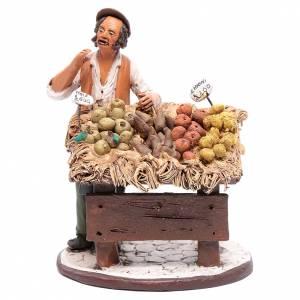 Presepe Terracotta Deruta: Uomo con banco frutta presepe Deruta 18 cm in terracotta