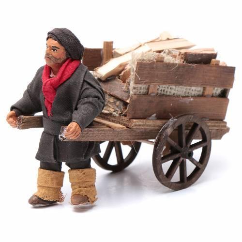 Uomo con carretto di legna 10 cm presepe napoletano s1