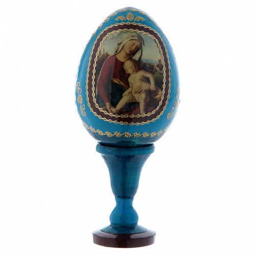 Uovo découpage in legno russo Madonna con Bambino blu h tot 13 cm s1
