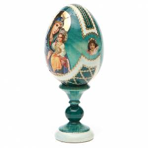 Uova russe dipinte: Uovo icona découpage Giglio Bianco h tot. 13 cm stile Fabergé