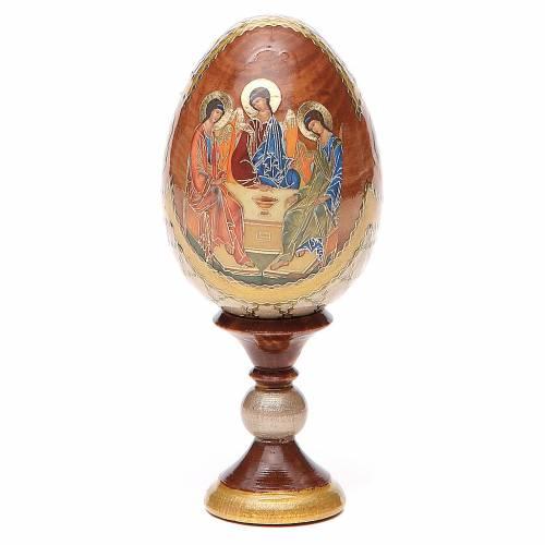 Uovo icona russa découpage Trinità Rublev h tot. 13 cm stile Fabergé s1