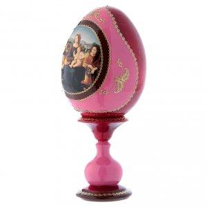 Uovo icona russa rossa découpage Madonna col bambino, San Giovannino e Angeli h tot 20 cm s2
