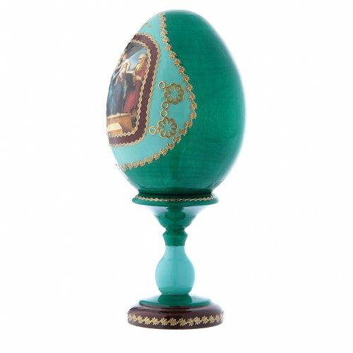 Uovo icona russa verde decorato a mano La Madonna del Pesce h tot 16 cm s2