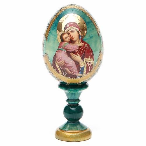 Uovo icona Russa Vladimirskaya h tot. 13 cm stile Fabergé s1