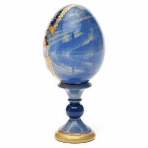 Uovo legno découpage Russia Premonitrice h tot. 13 cm stile Fabergé s3