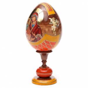 Uovo legno découpage Russia Tre Mani tot h 20 cm stile Fabergè s2