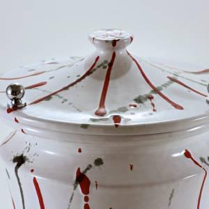 Urna cineraria cerámica perilla latón salpicaduras s3