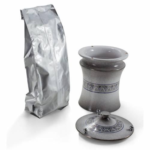 Urna cineraria cerámica perillas latón gris difumi s2