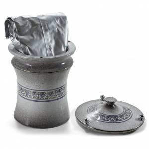 Urna cineraria ceramica pomelli ottone perla con platino s3