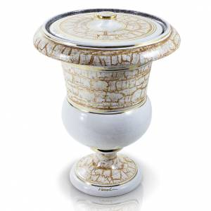 Urna cineraria en cerámica blanco con efecto piedra s1