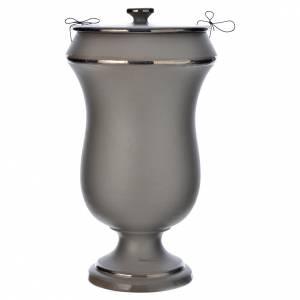 Urna cineraria in ceramica grigio chiaro s1