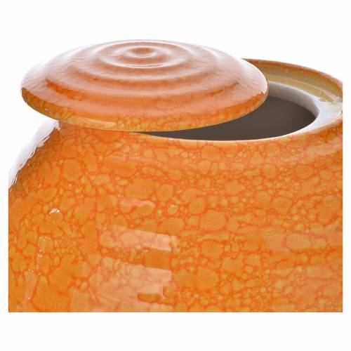 Urna cineraria porcellana smalto mod. Murano Arancio s2