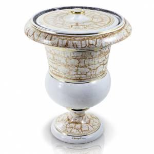 Urna funeraria in ceramica bianco oro s1