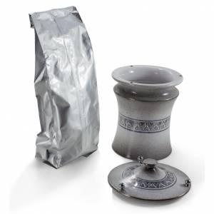 Urne funéraire céramique couleur perle et platine s2
