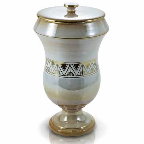 Urne funéraire céramique iris avec grecque s1