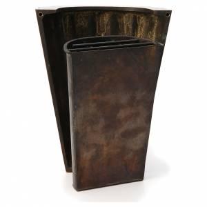 Vaso fiori cimitero ottone bronzato righe dritte s4