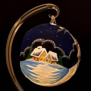 Vaso porta vela de Navidad pintado a mano pueblito con  nieve s6