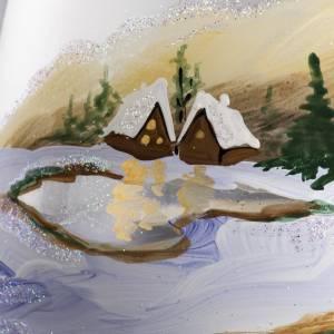 Vaso Porta vela de navidad, vidrio con paisaje con la nieve s4