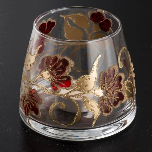 Vaso Porta vela de navidad, vidrio rojo y dorado s2