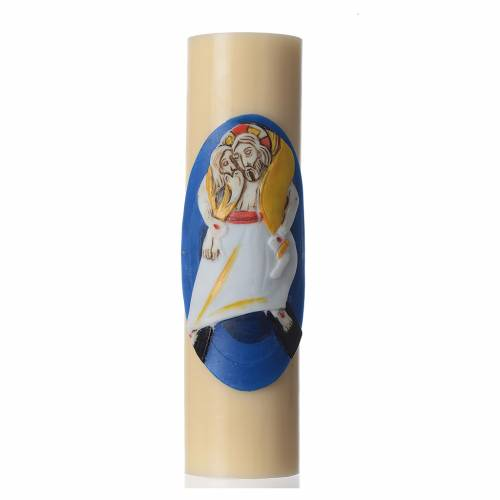 STOCK Vela de Altar Logo Jubileo de la Misericordia, cera de abeja, diám 8 cm s1