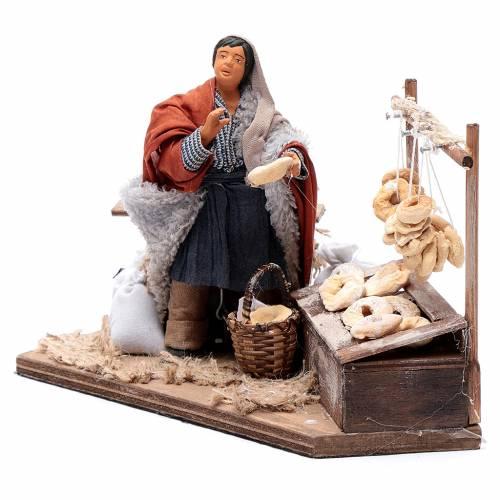 Vendeur de taralli avec banc 12 cm mouvement crèche Naples s2