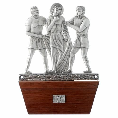 Vía Crucis 15 estaciones base de madera bronce plateado s10