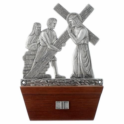 Vía Crucis 15 estaciones base de madera bronce plateado s2