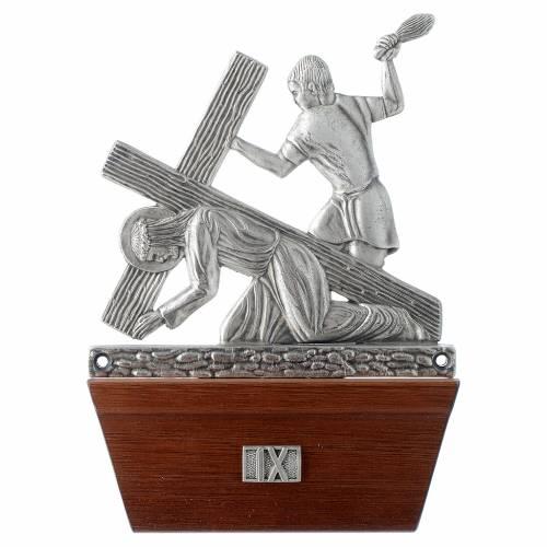 Vía Crucis 15 estaciones base de madera bronce plateado s9