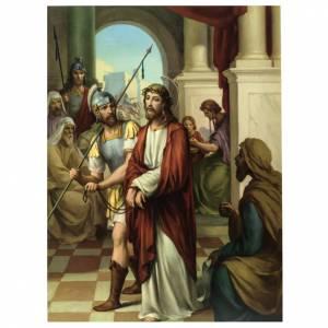 Vía Crucis: Vía Crucis 15 estaciones estampa sobre madera